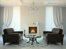 Classic style room with fireplace and sofas 3D rendering Royalty Free Stock Images