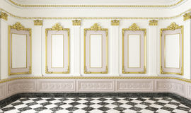 Classic style room with golden stock photo