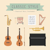 Classic style. Set of classiical musical instrument and sign, flat style Royalty Free Stock Photo