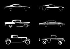 Classic Style Vehicle Silhouettes collection set illustration. Vector car design Stock Photography