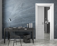 Classic style work place interior mock up with chalkboard wall, table, chair, door. 3D render illustration. Classic style work place interior mock up with stock illustration