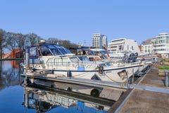 Classic style yacht moored at Nieuwe Kaai, Turnhout, Belgium Stock Photography