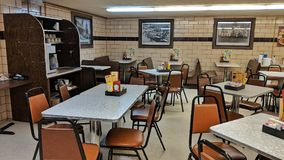 Vintage dinner interior. Classic styling of an American dinner restaurant stock photography