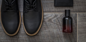 Classic stylish men's shoes. Stylish men's shoes ,still life of men's accessories Royalty Free Stock Photography