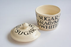 Classic Sugar Bowl with Spoon Top View with Lid In front Royalty Free Stock Images