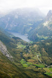 Classic summer picture of norwegian valley and fjord Geirangerfjord Stock Images