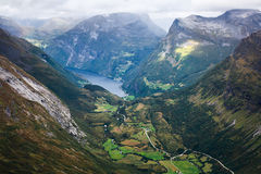 Classic summer picture of norwegian valley and fjord Geirangerfjord Stock Photography