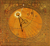 Classic sun dial in warsaw. Classic sun dial in historic old town warsaw, poland royalty free stock images