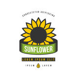 Classic sunflower emblem.Vector illustration. Classic sunflower emblem.Vector illustration on white background Royalty Free Stock Images
