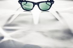 Classic sunglasses on white. Focus on copy space for your projects.  royalty free stock photos