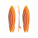 Classic surfboard. Three-sided surfboard illustration. Three projections. Colorful circular fish board Royalty Free Stock Photos