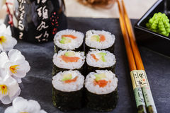 Classic sushi with salmon Stock Photos