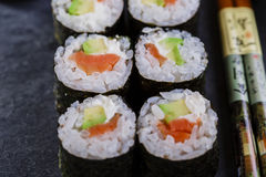 Classic sushi with salmon Royalty Free Stock Image