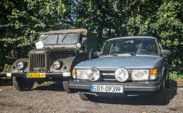 Classic Swedish car Saab 900 and Soviet GAZ Royalty Free Stock Image