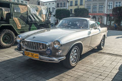 Classic Swedish car Volvo P1800 parked. On a market square in Puck at a car show in northern Poland Stock Images