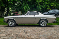 Classic Swedish cars Volvo P1800. Beautifully restored Swedish classic automobile Volvo P1800 convertible at a car show in Rzucewo, northern Poland Royalty Free Stock Image