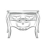 Classic table furniture with royal luxury ornaments Royalty Free Stock Images