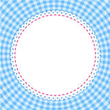 Classic tablecloth gingham background. Round frame with classic tablecloth pattern. Traditional Gingham pattern in blue colors. Checkered vector pattern Stock Images