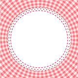 Classic tablecloth gingham background. Round frame with classic tablecloth pattern. Traditional Gingham pattern in red colors. Checkered vector pattern. Abstract Royalty Free Stock Photo