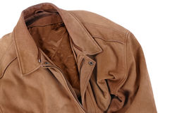 Tan brown leather jacket isolated on white background Royalty Free Stock Photo