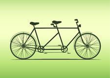 Classic tandem bicycle illustration. ride together on tandem, vector. Royalty Free Stock Photography