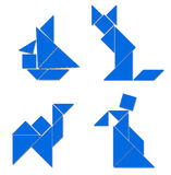 Classic Tangram - Various Comp. There are some classic tangram compositions. The ship, the cat, the camel and the man Stock Photo