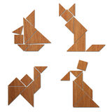 Classic Tangram - Various Comp. There are some classic tangram compositions. The ship, the cat, the camel and the man Royalty Free Stock Image