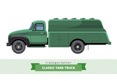 Classic tank truck side view Stock Photos