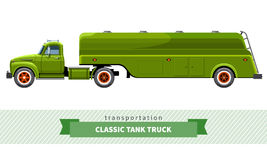 Classic tank truck side view Royalty Free Stock Photo