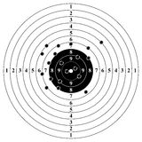 Classic target with bullet holes. Result of shooting on target. Target with numbers and bullet holes. Vector illustration Royalty Free Stock Images