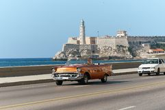 Taxis in cuba of two different decades.Cuba.Havana.11-05-2015 Royalty Free Stock Photo