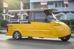 The classic taxi yellow car. Classis taxi car in ayuttaya Thailand service charge 5 baht Stock Photo