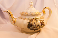 Classic Teapot With Handiwork Stock Photo
