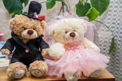Classic teddy bear gentleman and his bride Royalty Free Stock Photo