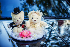 Classic teddy bear gentleman and his bride Royalty Free Stock Images