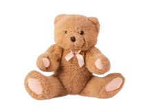 Classic teddy bear with pink bow Stock Photography