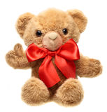 Classic teddy bear with red bow Stock Photos