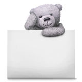 Classic teddy bear toy with paper card template Royalty Free Stock Photos