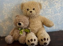 Classic Teddy Bears against a Blue Wall. Two Classic and friendly brown and tan teddy bears, one sports a beautiful camo patterned bow-tie against a blue and Stock Photo