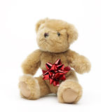 Classic teddybear isolated on white background stock photo