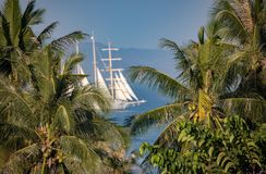 Classic Thailand ocean view with huge sail Stock Photo