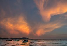 Classic Thailand sunset view with long tail boats, huge 56MP panorama Stock Images