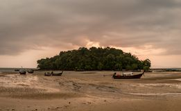 Classic Thailand sunset view with long tail boats Royalty Free Stock Images