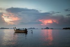 Classic Thailand sunset view with long tail boats Stock Image