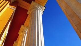 Classic theater building columns stock footage