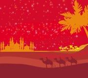 Classic three magic scene and shining star of Bethlehem Stock Image