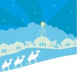 Classic three wise men scene and shining star of Bethlehem Stock Images