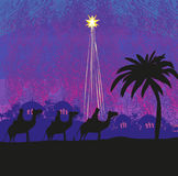 Classic three wise men scene and shining star of Bethlehem. Vector Illustration Royalty Free Stock Photos