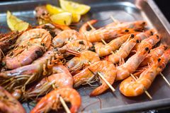 Classic tiger shrimp skewers. Shrimps sriracha kebabs with lemon for dinner. Delicious prawn spit prepared on grill. Extreme close royalty free stock image