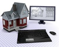 Classic Timber House with computer and blueprints. 3D render of a Classic Timber House with computer and blueprints Royalty Free Stock Photo